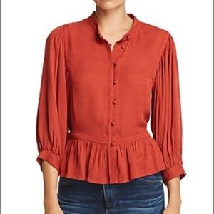 NWT Frame Button Down Peasant Top Blouse